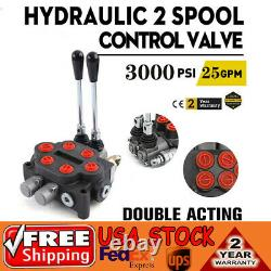 2 Spool 25 GPM Hydraulic Control Valve Tractors loaders Double Acting 3000PSI US