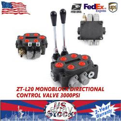 2 Spool 25 GPM Hydraulic Control Valve Tractors loaders Double Acting ZT-L20