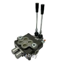2 Spool Hydraulic Control Valve Double Acting 32 GPM 3600 PSI SAE Ports NEW