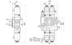 2 Spool Hydraulic Monoblock Directional Solenoid Control Valve, 13 GPM, 12V 50L