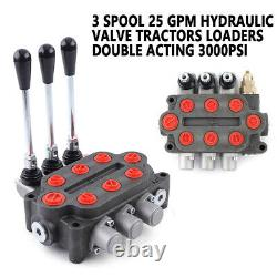 3 Spool 25GPM Hydraulic Control Valve Tractors Double Acting 3000PSI 20 Mpa USA