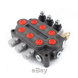 3 Spool 25 GPM Hydraulic Control Valve Tractors loaders Double Acting US STOCK