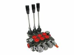 3 Spool Hydraulic Control Valve Double Acting 13 GPM 3600 PSI SAE Ports NEW