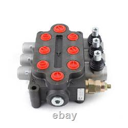 3 Spool Hydraulic Directional Control Valve 25GPM Double Acting Adjustable USA