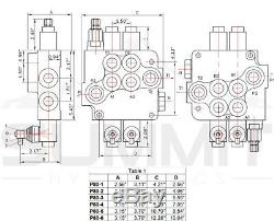 3 Spool Monoblock Hydraulic Directional Control Valve, 21 GPM, SAE Ports