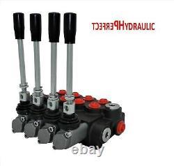 4 Spool Hydraulic Directional Control Valve 11gpm 40L 3x DA Double 1x SA SIngle