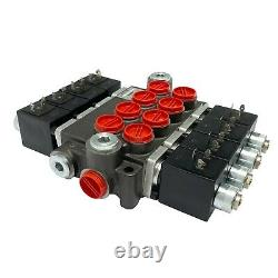 4 Spool Solenoid 12V DC Hydraulic Control Valve Double Acting 13 GPM 3600 PSI