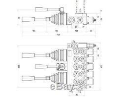5 Spool 2 Joysticks Monoblock Hydraulic Directional Control Valve 11gpm 40L