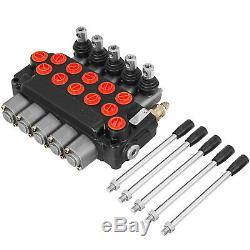 5 Spool Hydraulic Directional Control Valve 11GPM SAE Ports Cylinder Spool