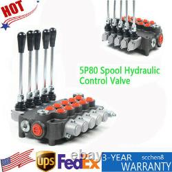 5 Spool Hydraulic Valve 5 Control Valve Switches 80L/min 21GPM For Tractors NEW