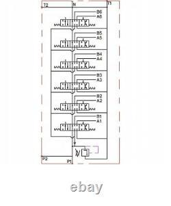 6 BANK Hydraulic Directional Control Valve 2x JOYSTICK 21gpm 80L 5x Double 56xDA
