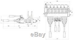 6 Spool 2 Joysticks Monoblock Hydraulic Directional Control Valve 11gpm 40L