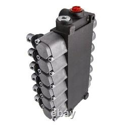 6 Spool Hydraulic Double Acting Control Valve, 11 GPM, SAE Ports