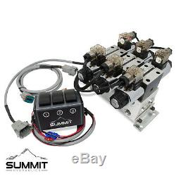 Electric Hydraulic Double Acting Control Valve with Rocker Switch, 3 Spool, 15 GPM