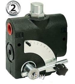 Flowfit Hydraulic 3 Port Adjustable Flow Control Valve c/w Relief Valve, 1/2 BS