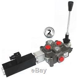 Galtech hydraulic 1 bank double acting valve c/w 12 VDC solenoid control 3/8BSP