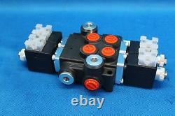 HYDRAULIC BANK MOTOR 2 SPOOL VALVES 50L/MIN ELECTRIC 12V + Control Panel