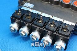 Hydraulic Bank Motor 5 Spool Bank Solenoid Control Valve 50 Lpm 12 V