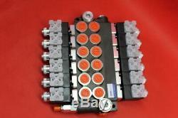 Hydraulic Bank Motor 6 Spool Bank Solenoid Control Valve 50 Lpm 12v