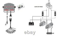Hydraulic Bank Motor 7 Spool Valves 50l/min Electric 12v + Control Panel