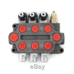 Hydraulic Control Valve 3 Spool 25 GPM Tractors Double Acting 3000PSI Vehicle US