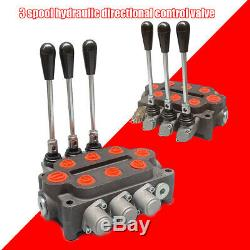 Hydraulic Control Valve Directional 3 Spool Tractor Loader 25GPM Ports Acting