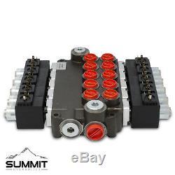 Hydraulic Monoblock Solenoid Directional Control Valve, 5 Spool, 21 GPM, 12V DC