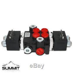 Hydraulic Monoblock Solenoid Motor Control Valve, 2 Spool, 13 GPM, 12V DC