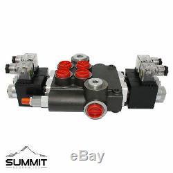 Hydraulic Monoblock Solenoid Motor Control Valve, 2 Spool, 21 GPM, 12V DC