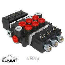 Hydraulic Monoblock Solenoid Motor Control Valve, 3 Spool, 13 GPM, 12V DC
