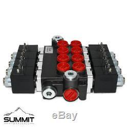 Hydraulic Monoblock Solenoid Motor Control Valve, 4 Spool, 13 GPM, 12V DC
