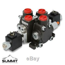 Hydraulic Solenoid Directional Control Valve, Double Acting, 1 Spool, 27 GPM, 12