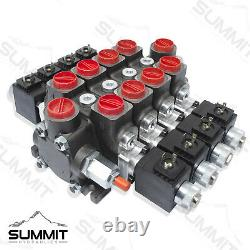 Hydraulic Solenoid Directional Control Valve, Double Acting, 4 Spool, 27 GPM, 12